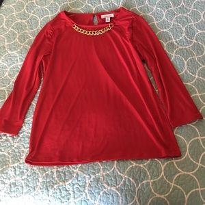 Calvin Klein red chain blouse long sleeve Sz.M
